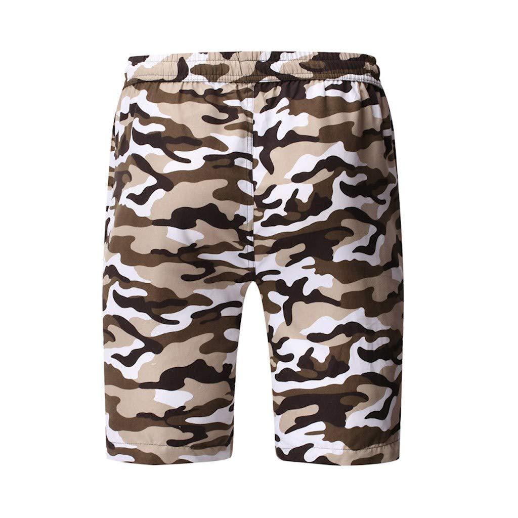 iLXHD Men Beach Shorts Quick Dry Summer Drawstring Swim Trunks Surfing Running Short Pant Board Shorts