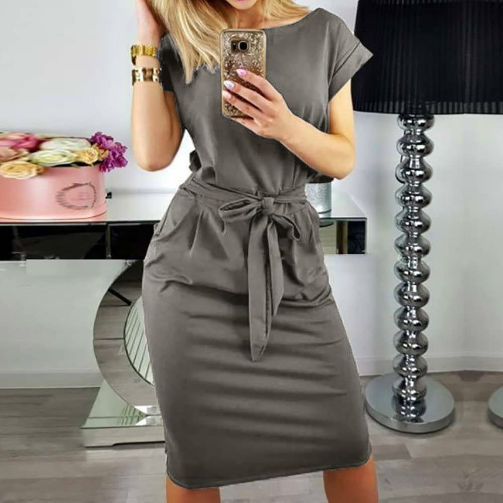 RTYou Summer Dress for Women Casual Short Sleeve Party Bodycon Sheath Belted Dress with Pockets Beach Dress