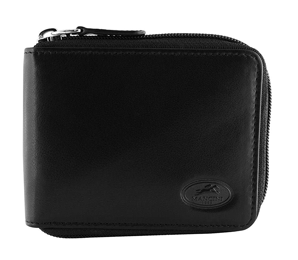 Mancini RFID Secure Mens Zippered Leather Wallet