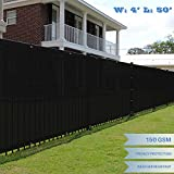 E&K Sunrise 4' x 50' Black Fence Privacy Screen, Commercial Outdoor Backyard Shade Windscreen Mesh Fabric 3 Years Warranty (Customized Sizes Available) - Set of 1