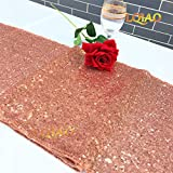 LQIAO Christmas Table Runner Sequin 12x108-in, Rose Gold, Shiny Fabric Birthday/Wedding/Party Decoration(wholesale Possible), Pack of 20 PCS