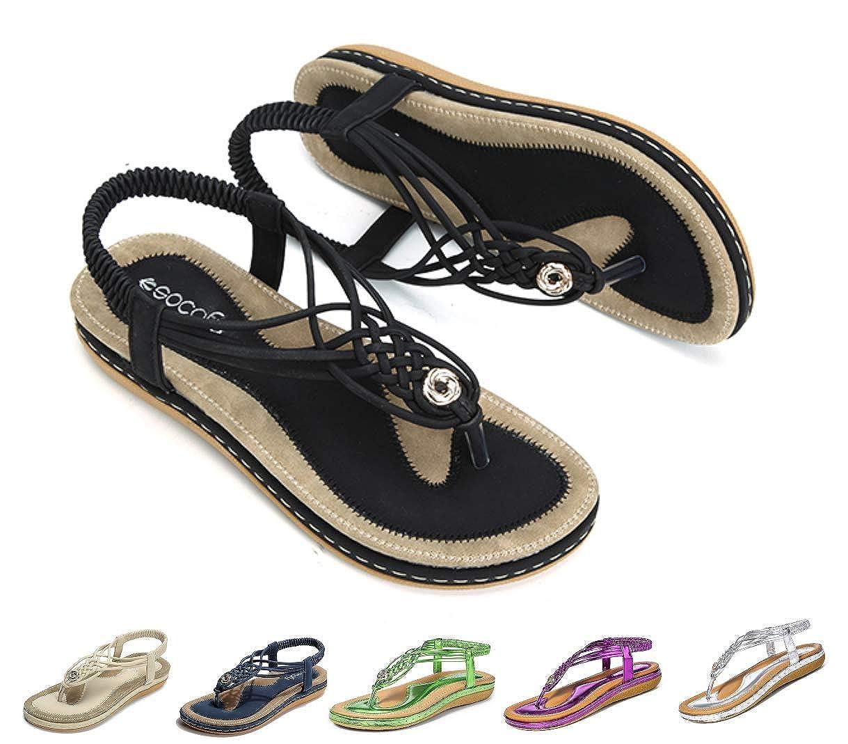 a6d24228b8 Socofy Women's Flat Sandals Summer Beach Walking Sandals Shoes Clip Toe  Flip Flops Thongs Bohemian Wedge Shoes Ladies Slip On Open Toe T-Strap  Braided ...