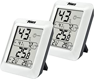iPower 2 Packs Indoor Hygrometer Thermometer, Digital Room Temperature and Humidity Gauge with Monitor and Air Comfort Indicator, Large LCD Display, for Home Office Greenhouse Cellar