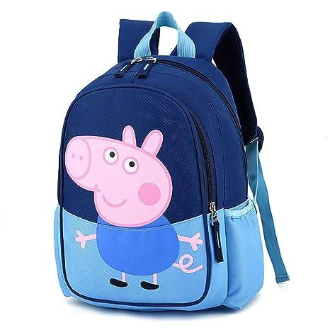 JUNMAONO Peppa Pig Bolsa Escolares Mochila Escolar Montañismo Viaje Paquete con Bandolera Saco Doble Hombro Moral