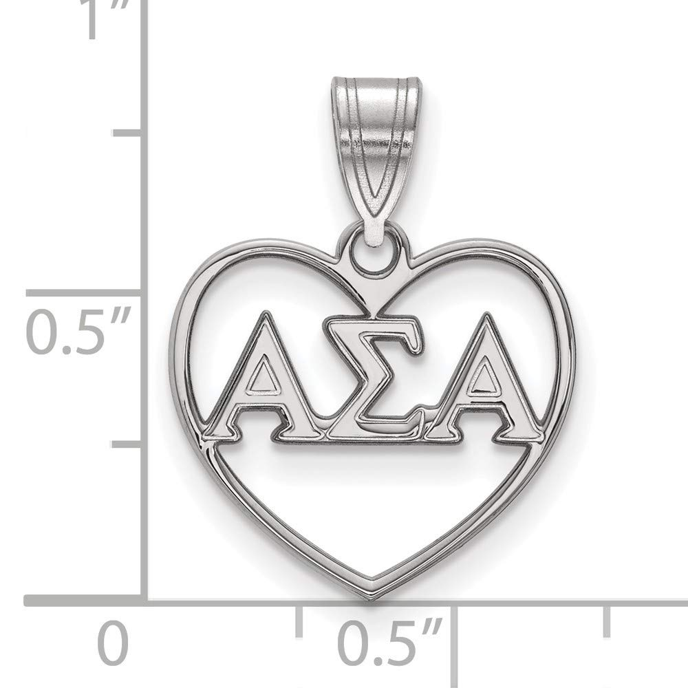 Roy Rose Jewelry Sterling Silver Alpha Sigma Alpha Heart Pendant