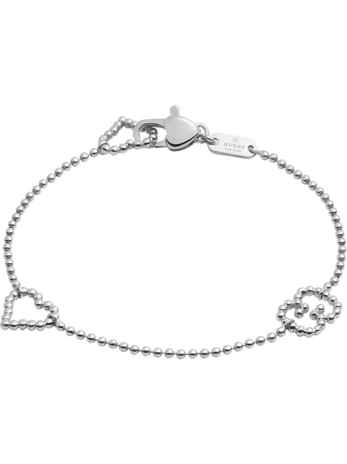 Gucci Women's Boule Bracelet w/ Open Heart Motif Silver 18 cm (7 in)