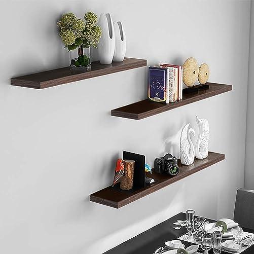 aimu Set of 3 Floating Wall Shelves,Wall Mounted Shelf,Wooden Shelves for Wall Decor,Home Storage Shelves Package Included Flush Hidden Brackets,Black Oak