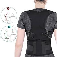 Postura Brace Corrector Ajustable soporte de espalda hombro lumbar Straighten Back apto Estudiante y Mujer(Negro L)