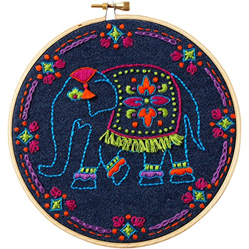 Worldly Elephant Stamped Embroidery Kit-6