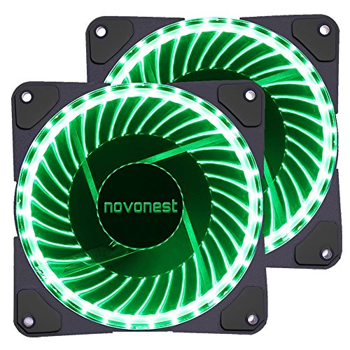 uphere 120mm Green LED Silent Fan for Computer Cases, CPU Coolers, and Radiators Ultra Quiet High Airflow Computer Case Fan, Twin Pack