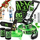 Slackline Kit with Training Line Tree Protectors High Grade Ratchet + Cover Arm Trainer Set Up Instruction Booklet and Carry Bag | Complete 50ft Slack Line Set | Perfect Slackline For Kids and Adults