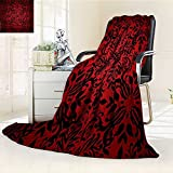 YOYI-HOME Duplex Printed Blanket Comfort Warmth SoftRed and Black Indian Mandala Oriental Design Flowers Leaves Frame Image Burgundy and Scarlet Anti-Static,2 Ply Thick,Hypoallergenic/W47 x H79