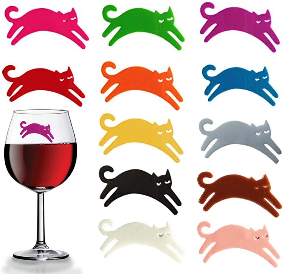 5 Pcs Silicone Wine Glass Charms Funny Squirrel Shape Wine Cup Markers Reusable Drink Bottle Stickers Cup Identifier Cup Signs for Wine Tasting Party Drinking Accessories Cup Decorations