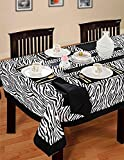 ShalinIndia Cotton Zebra Print Black White Tablecloths, Tables 60 X 102 Inches, Black Border