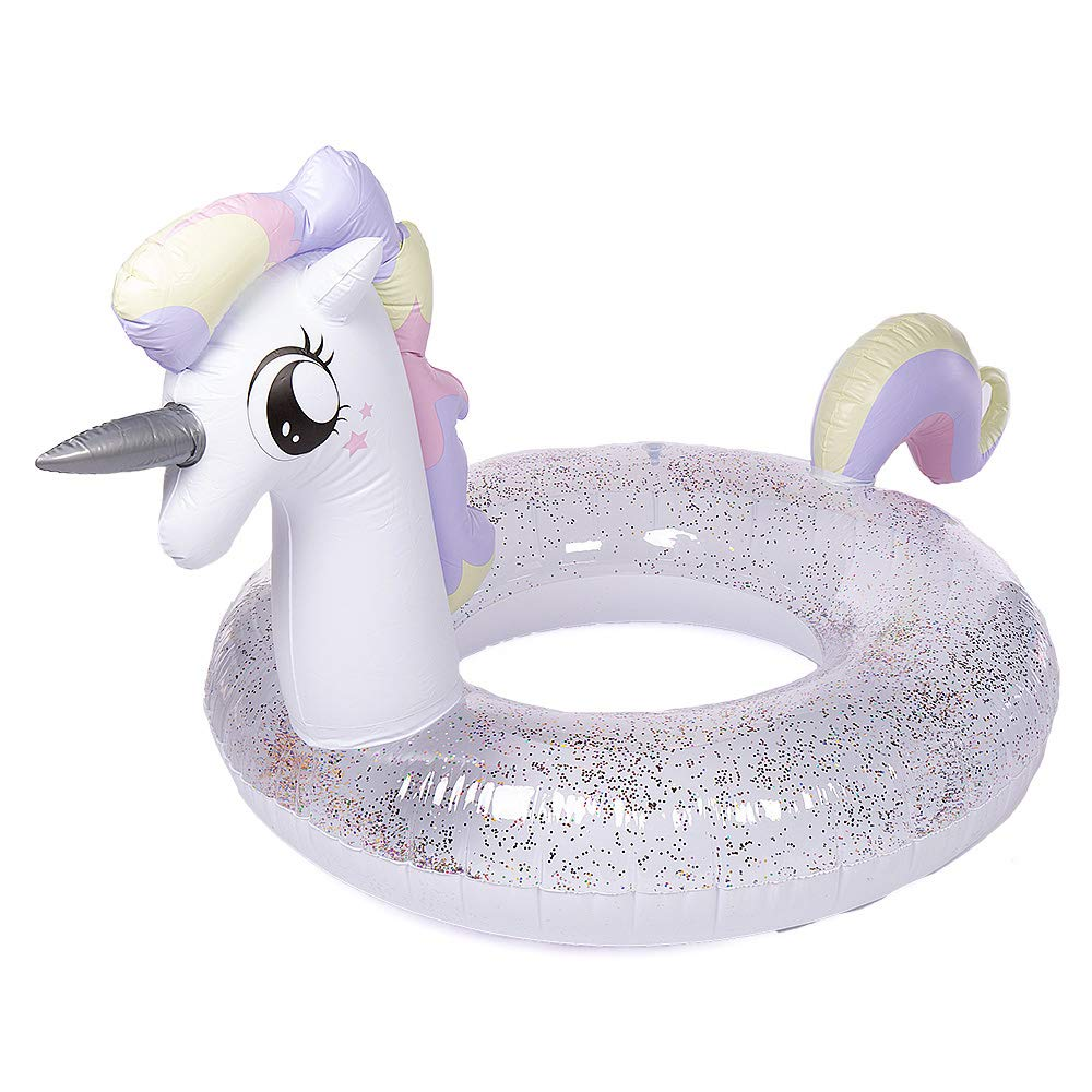 WISHTIME Giant Unicorn Swim Pool Float 2019 Summer Unicorn Inflatable Pool Float with Glitters Swim Ring Inflatable Lounge Raft Tube Summer Toys for Adults, Women, Kids, Toddlers by WISHTIME