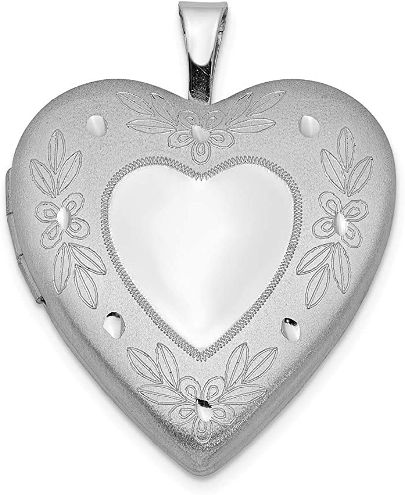 Sterling Silver 20mm Textured /& Polished Swirl Heart Locket