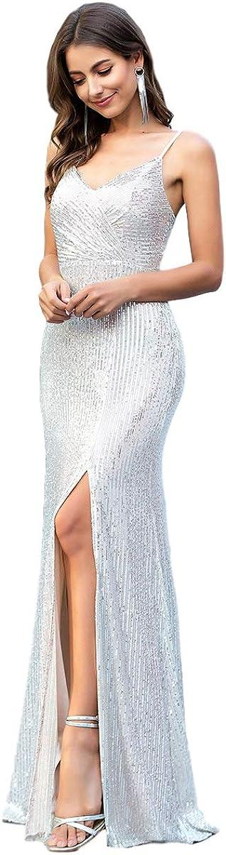 Ever-Pretty Fendue Robe de Soir/ée /à Paillettes Femme Longue Col V Bretelles Spaghetti Chic 00609