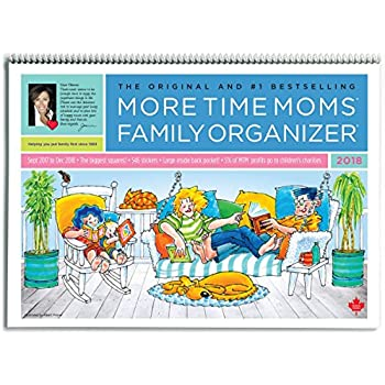 More Time Moms - 2018 Family Organizer Wall Calendar - September 2017 to December 2018