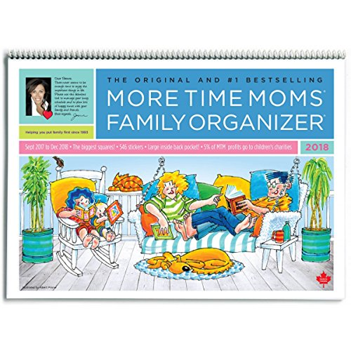 More Time Moms - 2018 Family Organizer Wall Calendar - September 2017 to December 2018