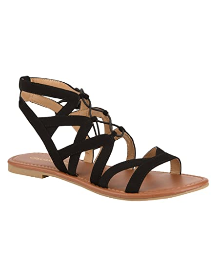 2dfe93acaae Image Unavailable. Image not available for. Color  City Classified Strappy  Ghillie Sandals ...
