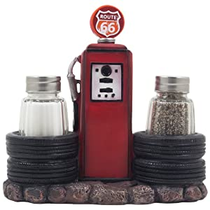 Vintage Gas Station Filling Pump Salt and Pepper Shaker Set with Decorative Car Tires & Route 66 Sign for Restaurant or Retro Kitchen Decor Spice Racks as Classic Car Style Father's Day Gifts for Dad
