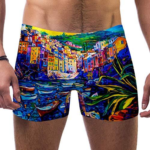 LORVIES Boats and Old Town Pintura al oleo para hombre, banador corto de pierna cuadrada de secado rapido, S multicolor M