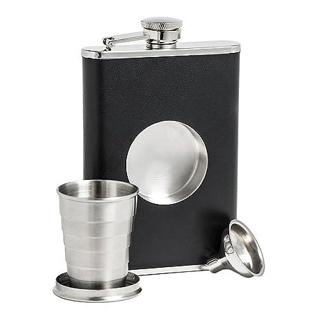Samber Petacas de Licor con Vaso Plegable Petacas Creativo de Whisky de Acero Inoxidable Botellas de Cadera para Vino Portátil 8 Onzas con Embudo (C)