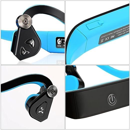 Sumeber auriculares inalámbricos de conducción ósea Bluetooth 4.1, casco manos libres con micrófono de cancelación de ruido para IOS/Android/PC: Amazon.es: ...