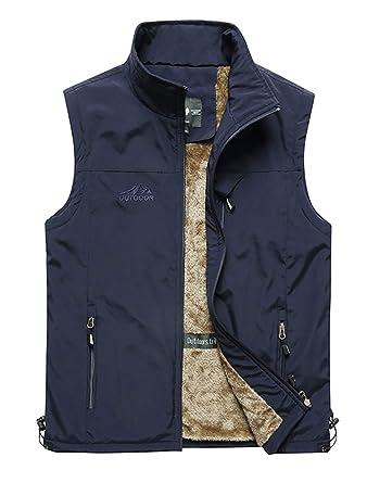 b47162727ce58 Heihuohua Men s Winter Outdoor Fleece Vest Outerwear Casual Travels ...