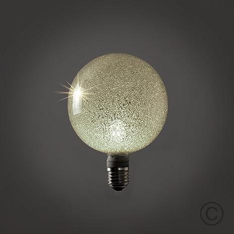 Bombilla LED, diseño esférico Grande, efecto de hielo pilée. blanco cálido 3000 K