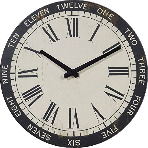 British Clock (NIKKY HOME British Style Vintage Silent Round Wood Wall Clock 12 Inch)