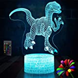 Dinosaur Night Lights for Kids Christmas Gift Birthday Indoraptor Toy 3D Illusion Lamp Animal Light Led Lamp Gifts for Baby Home Decor Office Bedroom Party Supply Decoration 7 Color Blue Remote Raptor