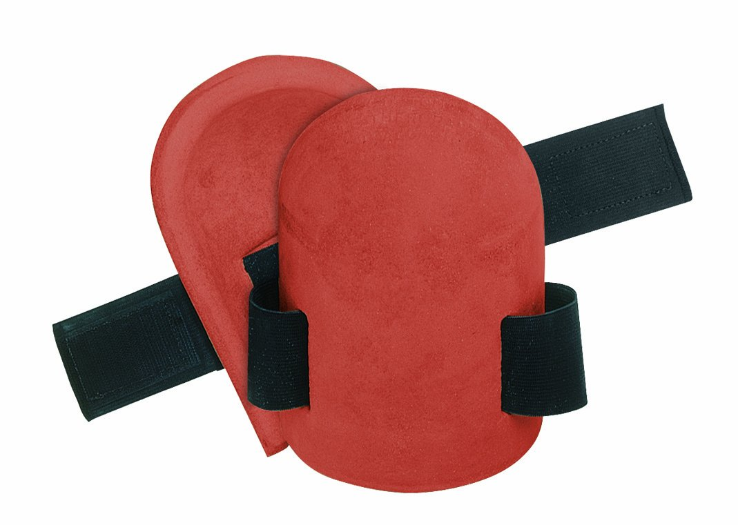 CLC Custom Leathercraft V310 Molded Natural Rubber Kneepads with Hook and Loop Fastener, Red, Universal