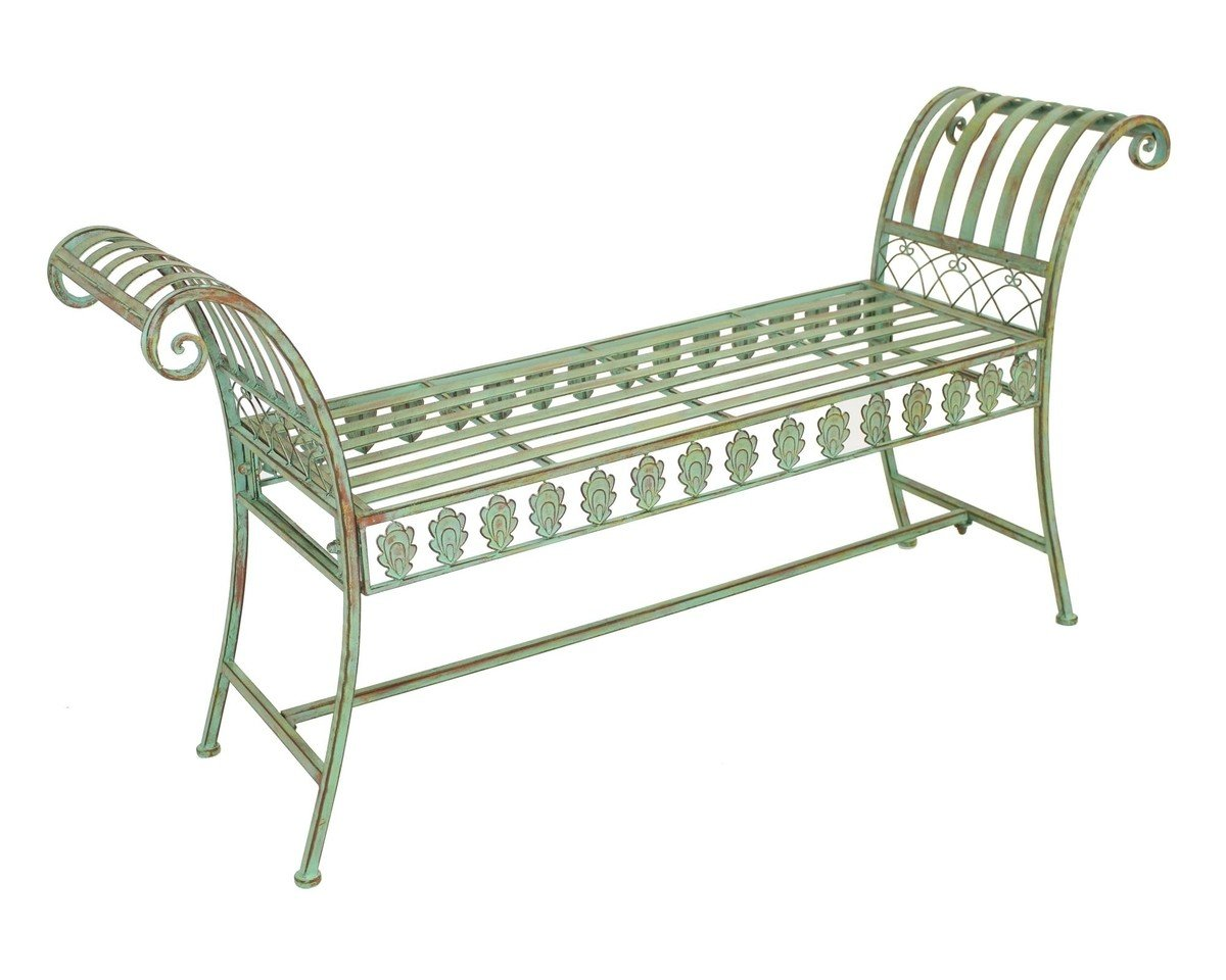 PierSurplus Metal Scroll Arm Backless Bench Plant Stand w Peacock Tail Motif Product SKU PF223551