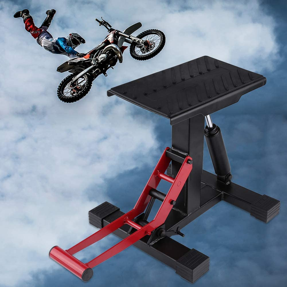 Dirt Bike Motorcycle Motocross Maintenance Adjustable Lift Steel Stand 330 LB Load Capacity Red//Black Motorcycle Repairing Table