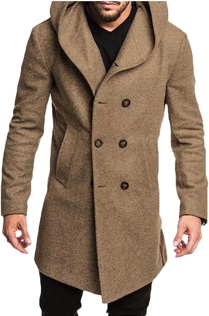 M/&S/&W Mens Vintage Double Breasted Pea Coat Hoodie Jacket