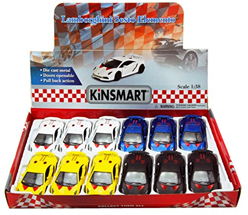 12 Scale Diecast Model - Kinsmart Lamborghini Sesto Elemento Hard Top Diecast Car Package - Box of 12 1/38 Scale Diecast Model Cars, Assorted Colors