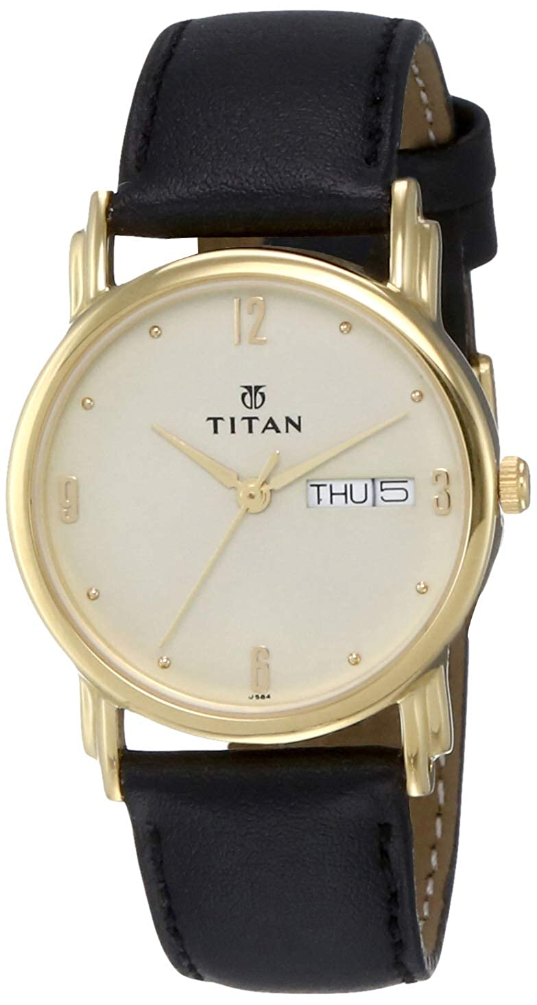 Titan Men s Contemporary Chronograph Multi Function Work Wear,Gold Silver Metal Leather Strap Mineral Crystal, Quartz, Analog, Water Resistant Wrist Watch