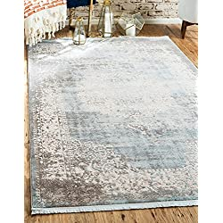 Unique Loom New Classical Collection Traditional Distressed Vintage Classic Light Blue Area Rug (9' x 12')