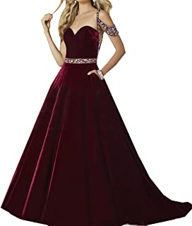 Special Bridal 2018 Spaghetti Straps A Line Velvet Prom Dress With Beading Evening Party Dress