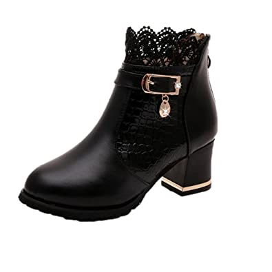 c84dfa0e7dd Xjp Women s Zipper Ankle Boots Artificial Leather Platform Block Heel Boots  with Lace (4.5