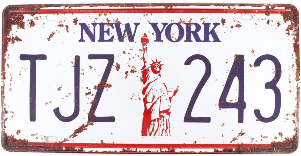 6x12 Inches Vintage Feel Rustic Home,Bathroom and Bar Wall Decor Car Vehicle License Plate Souvenir Metal Tin Sign Plaque (New York TJZ 243)