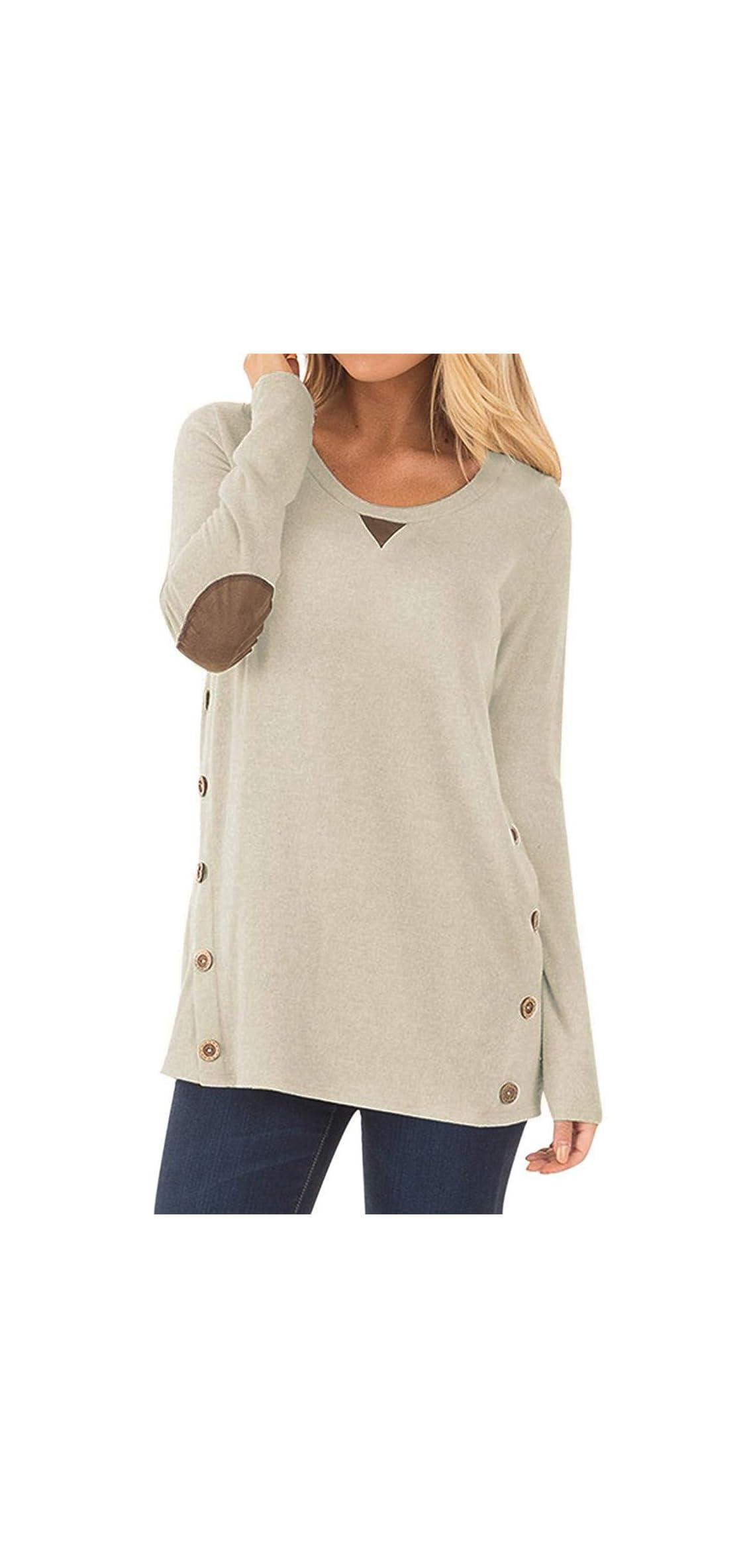 Women's Long Sleeve Faux Suede Casual Blouse Tunic Shirt