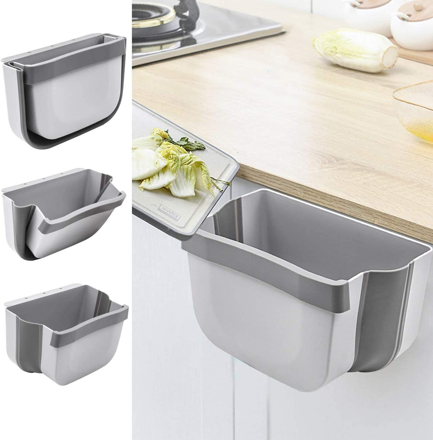 Kitchen Hanging Trash Can, Collapsible Trash Bin Small Compact Garbage Can Attached to Cabinet Door Kitchen Drawer Bedroom Dorm Room Car Waste Bin