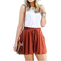 Durcoo Womens Shorts High Waist Drawstring Elastic Ankle Length Pants or Shorts
