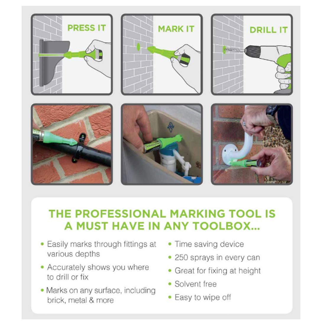 MarXman Pen, Deep Hole Marker Tool. Easily Mark Hard To Reach Places Such As Drilled Holes, Tight Corners. Marks A Hole On Any Surface. Perfect Drilling Companion For DIY and Trade Professionals
