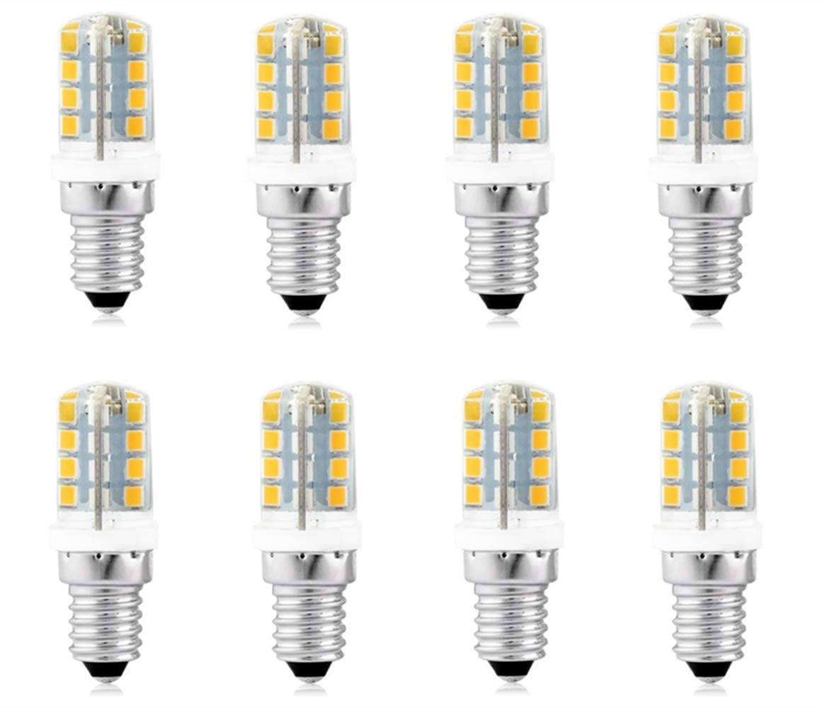 JKLcom E14 LED Light Bulbs 3W(Equivalent 25W Halogen Bulb Replacement) Silicone Warm White 3000K LED Corn Bulbs,E14 Candelabra Base,32 LED 2835SMD,AC110-120V,Pack of 8