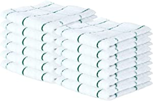 Arkwright Windowpane Dishcloths (12x12, 12 Pack), Absorbent Terry Kitchen Towels Ideal for Cooking, Drying Dishes, Cleaning (Green)
