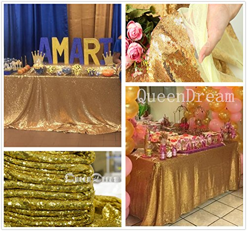"QueenDream 90""X156"" Gold wedding decoration sequin tablecloths sequin tablecloth rectangle long sequin tablecloth"