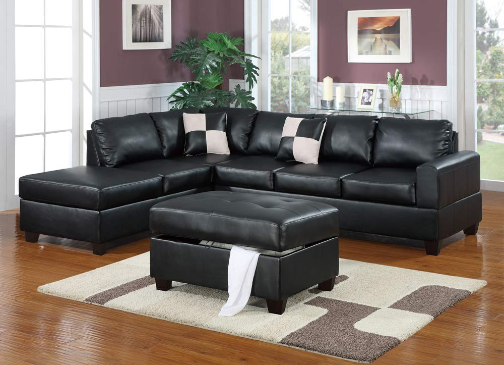 Amazon.com: Benjara BM167241 Bonded Leather Sectional Sofa ...